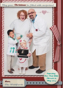 "Our Christmas card doubled as our ""expecting"" announcement."