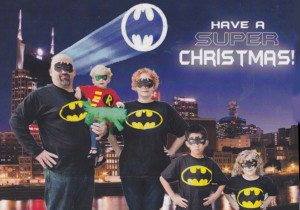 We were obviously still excited to be in the Nashville area. Plus our kids were getting into super heroes. This was the card front.