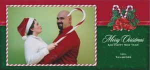 Our 1st crazy Christmas card. Reeling him in for a kiss!